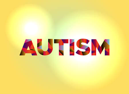 The word AUTISM written in colorful fragmented word art. Иллюстрация