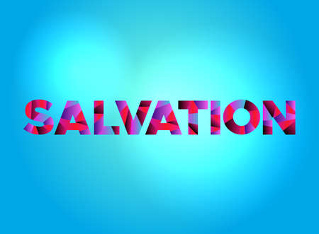 The word SALVATION written in colorful fragmented word art.