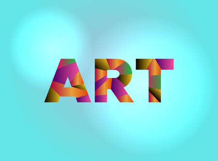 The word ART written in colorful fragmented word art.