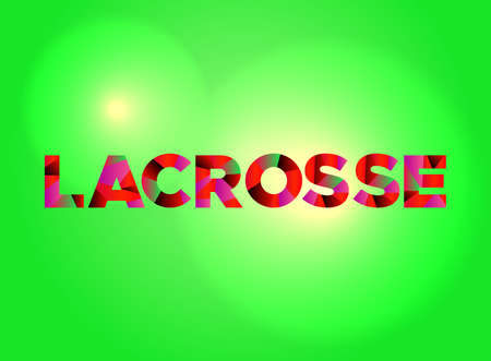 The word LACROSSE written in colorful fragmented word art.