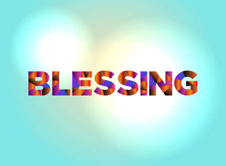 The word BLESSING written in colorful abstract word art.