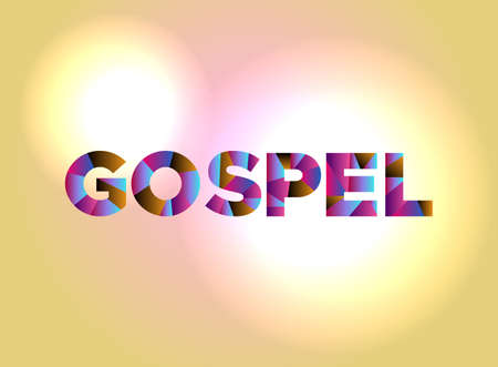 The word GOSPEL written in colorful abstract word art. Illustration