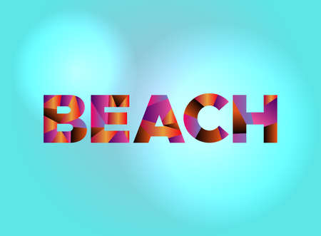 The word BEACH written in colorful fragmented word art.