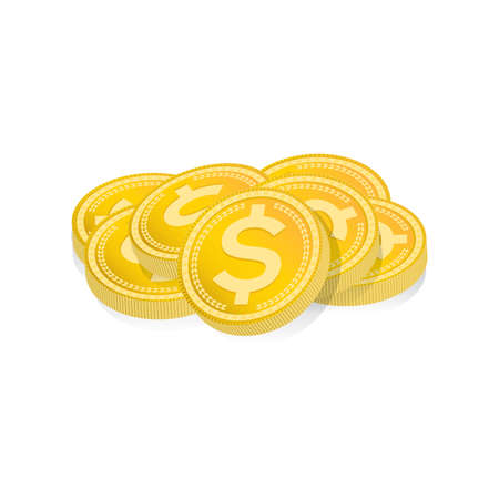 A pile of gold coins. Illustration