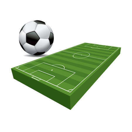 A 3D illustration of a soccer football field.