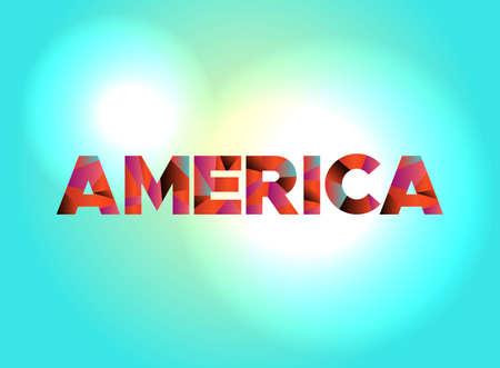 アメリカのカラフルな断片化されたワードアートで書かれた単語。