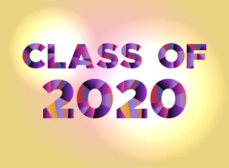 The words CLASS OF 2020 written in colorful abstract word art.