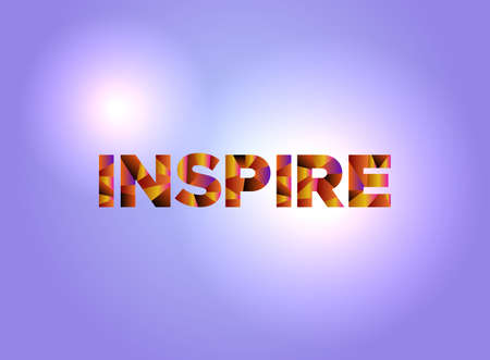 The word INSPIRE written in colorful abstract word art.