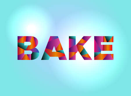 The word BAKE written in colorful abstract word art.