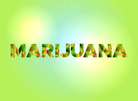 The word MARIJUANA written in colorful fragmented word art. Illustration