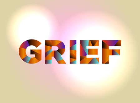 Het woord GRIEF geschreven in kleurrijke abstracte woordkunst.
