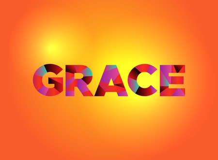 Słowo GRACE zapisane kolorowymi fragmentarycznymi słowami-grafikami.