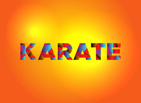 The word KARATE written in colorful fragmented word art.
