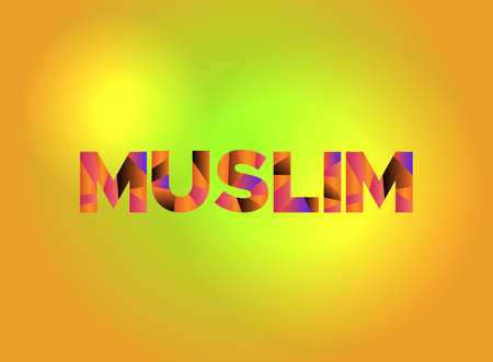 The word MUSLIM written in colorful fragmented word art. Çizim