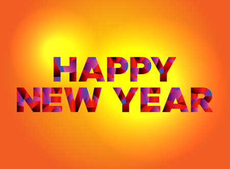 The words HAPPY NEW YEAR written in colorful fragmented word art.