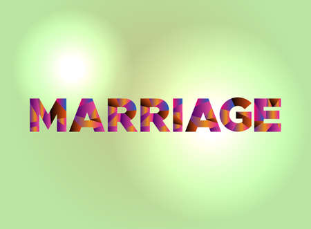 The word MARRIAGE written in colorful fragmented word art. Illustration