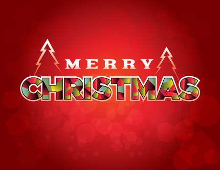 Joyeux Noël, message de souhaits de vacances écrit en caractères stylisés sur une illustration rouge. Banque d'images - 88429464