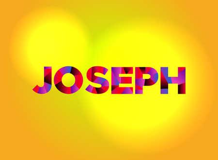 カラフルな断片化されたワードアートで書かれたジョセフの名前。