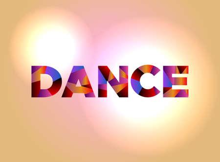 Het woord DANS geschreven in kleurrijke abstracte woordkunst.