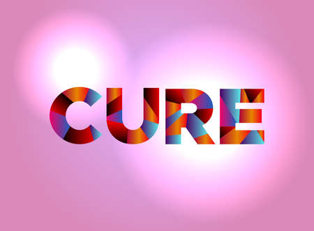 The word CURE written in colorful abstract word art.