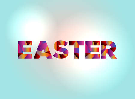 The word EASTER written in colorful abstract word art. 向量圖像