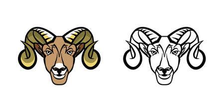 A school mascot ram big horn sheep illustration.