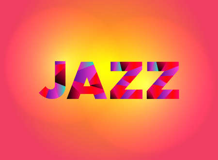 The word JAZZ written in colorful fragmented word art.