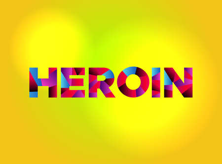 The word HEROIN written in colorful fragmented word art. Illustration