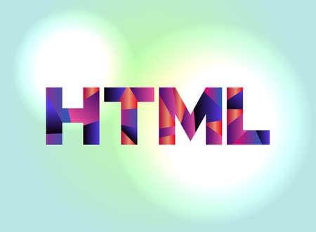 カラフルな抽象的な言葉のアートで書かれた HTML の文字が。