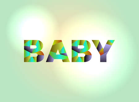 The word BABY written in colorful abstract word art.