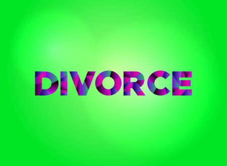 「離婚」という言葉は、カラフルで断片的な言葉で書かれています。