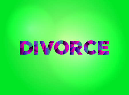 The word DIVORCE written in colorful fragmented word art.
