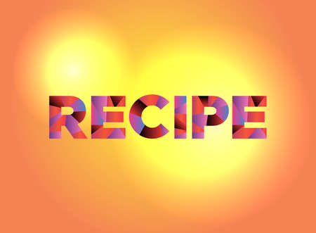 The word RECIPE written in colorful fragmented word art. Ilustração