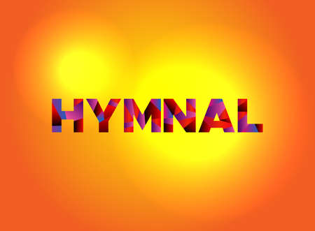 The word HYMNAL written in colorful fragmented word art.