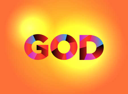 The name GOD written in colorful fragmented word art.