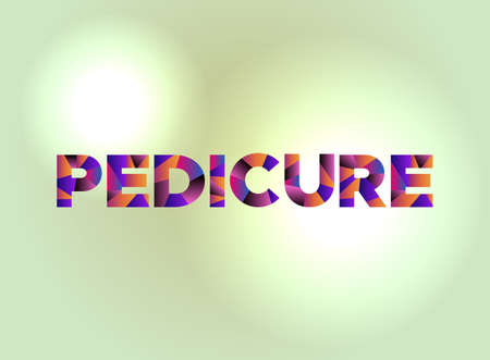 The word PEDICURE written in colorful fragmented word art. Illustration