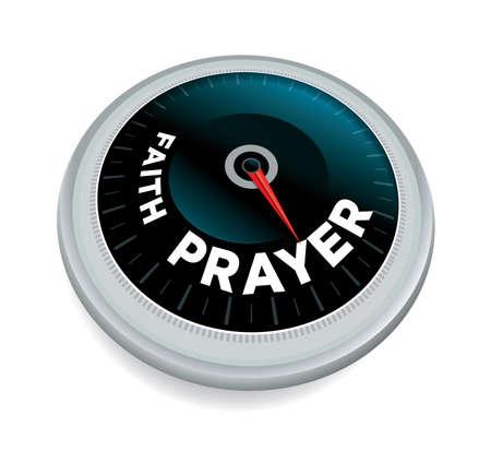 A faith and prayer dial meter odometer concept.
