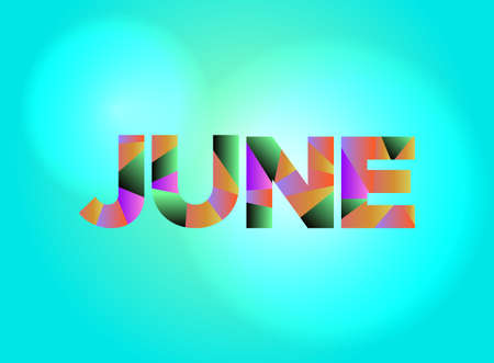 The month of JUNE written in colorful fragmented word art. Иллюстрация