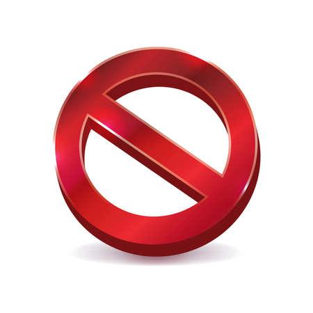 """Een """"NEE"""" verbod symbool Vector illustratie pictogram gemaakt in 3D beschikbaar."""