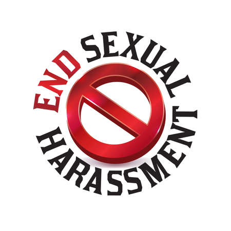 A red sexual harassment warning sign symbol Vector illustration icon Иллюстрация