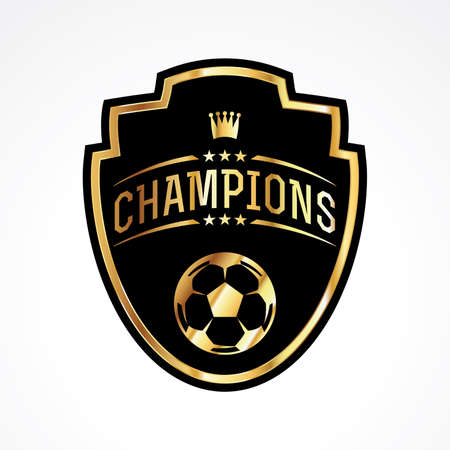 A soccer football champions emblem badge illustration. Vector EPS 10 available. Ilustrace