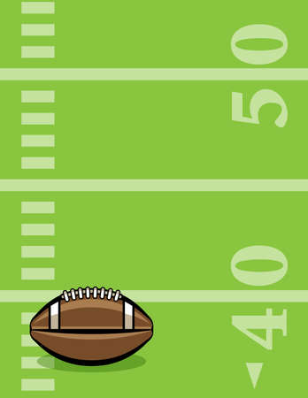 American football sitting on a lined field illustration.