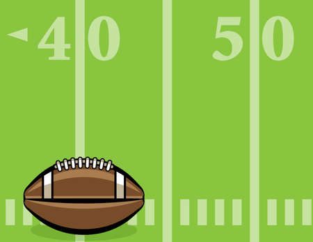 An American football sitting on a lined field background illustration. Vector EPS 10 available. Illustration