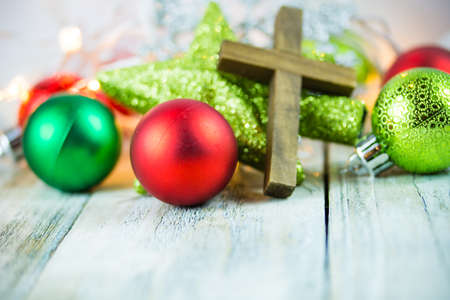 A holy Christian cross and Christmas holiday theme background.