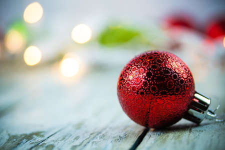 A Christmas holiday lights and ornaments background. Stock Photo