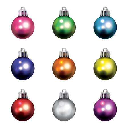 A set of realistic colorful Christmas holiday ornaments isolated on a white background illustration.