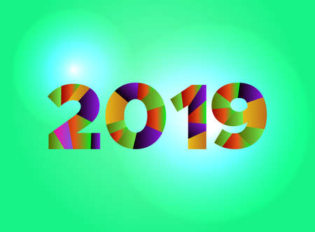 The word 2019 concept written in colorful fragmented word are on a bright background illustration. Vector EPS 10 available.