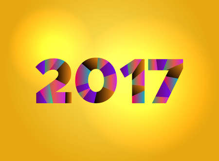 The word 2017 concept written in colorful fragmented word are on a bright background illustration. Vector EPS 10 available. Ilustração