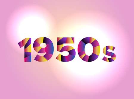 다채로운 조각난 된 word에서 작성하는 단어 1950 개념은 밝은 배경 그림에 있습니다. 벡터 EPS 10 사용할 수 있습니다.