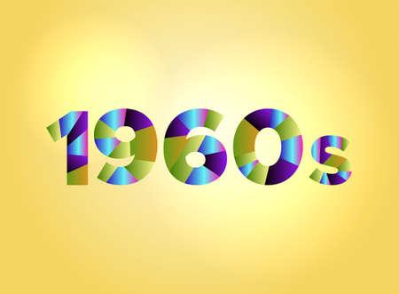 다채로운 조각난 된 word에서 작성하는 단어 1960 개념 밝은 배경 그림에 있습니다. 벡터 EPS 10 사용할 수 있습니다.